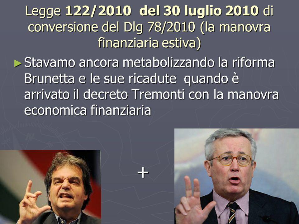 Legge 122/2010 del 30 luglio 2010 di conversione del Dlg 78/2010 (la manovra finanziaria estiva) Stavamo ancora metabolizzando la riforma Brunetta e l