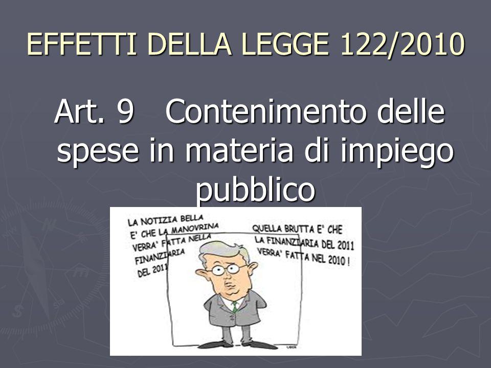 EFFETTI DELLA LEGGE 122/2010 Art. 9 Contenimento delle spese in materia di impiego pubblico Art. 9 Contenimento delle spese in materia di impiego pubb