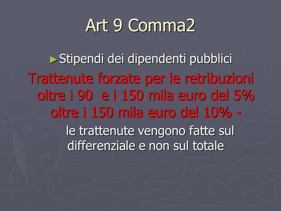 Art 9 Comma2 Stipendi dei dipendenti pubblici Stipendi dei dipendenti pubblici Trattenute forzate per le retribuzioni oltre i 90 e i 150 mila euro del