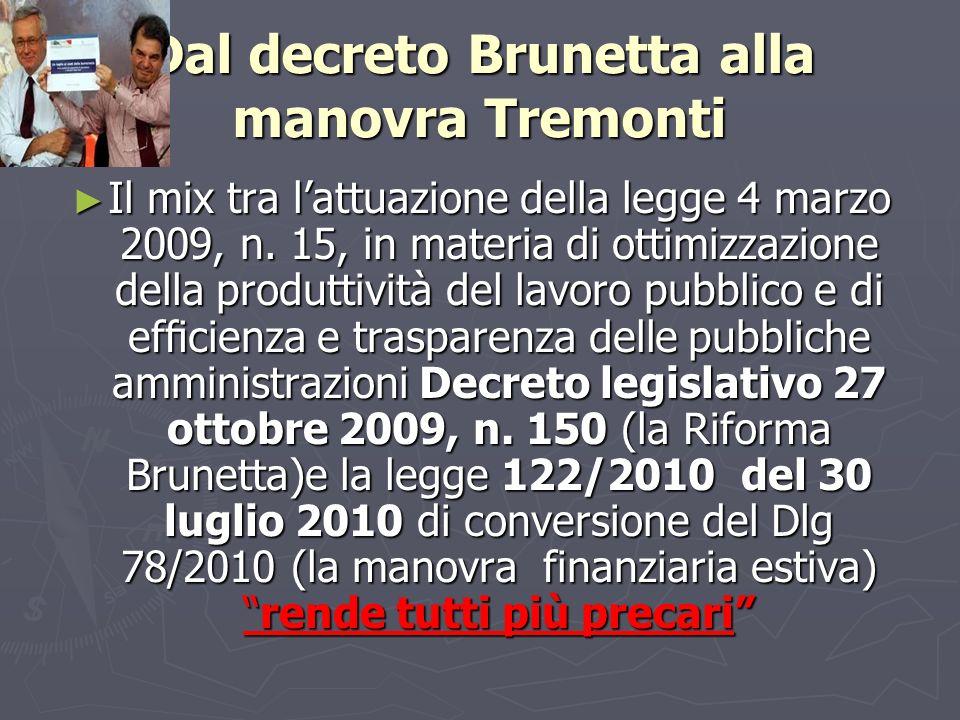 Dal decreto Brunetta alla manovra Tremonti Il mix tra lattuazione della legge 4 marzo 2009, n. 15, in materia di ottimizzazione della produttività del