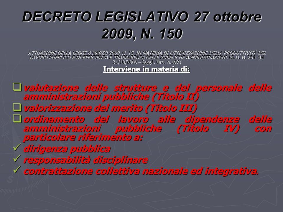 DECRETO LEGISLATIVO 27 ottobre 2009, N. 150 ATTUAZIONE DELLA LEGGE 4 MARZO 2009, N. 15, IN MATERIA DI OTTIMIZZAZIONE DELLA PRODUTTIVITÀ DEL LAVORO PUB