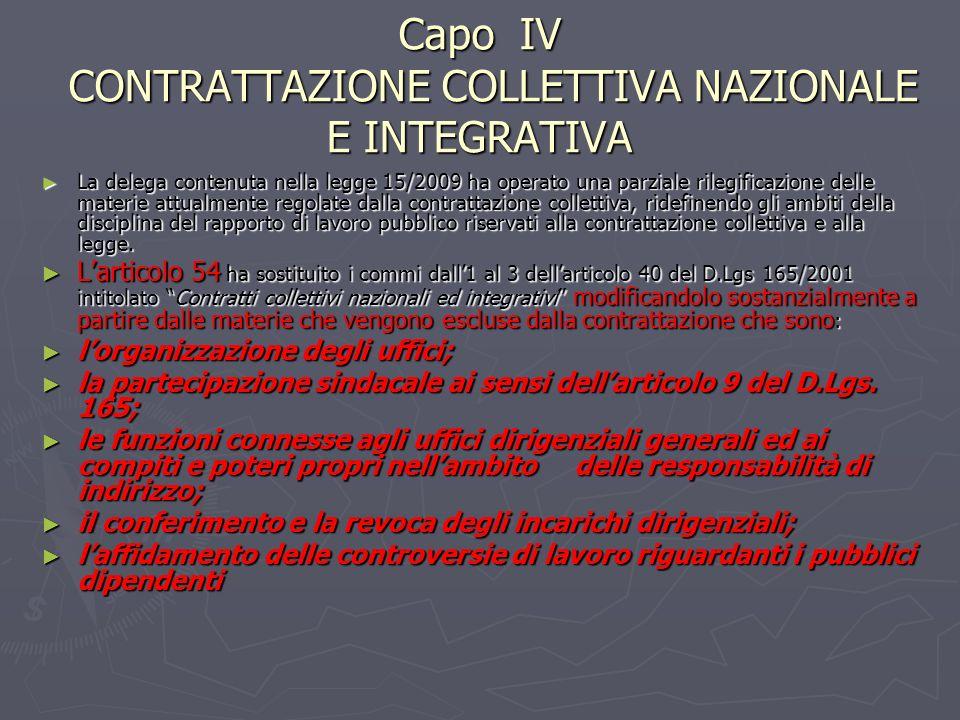 Capo IV CONTRATTAZIONE COLLETTIVA NAZIONALE E INTEGRATIVA La delega contenuta nella legge 15/2009 ha operato una parziale rilegificazione delle materi
