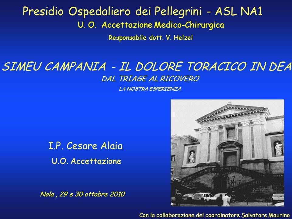 SIMEU CAMPANIA - IL DOLORE TORACICO IN DEA Presidio Ospedaliero dei Pellegrini - ASL NA1 U. O. Accettazione Medico-Chirurgica Responsabile dott. V. He