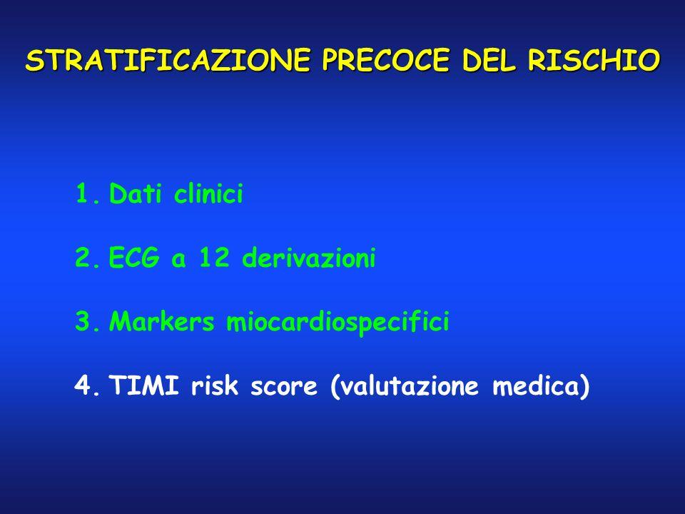 STRATIFICAZIONE PRECOCE DEL RISCHIO 1.Dati clinici 2.ECG a 12 derivazioni 3.Markers miocardiospecifici 4.TIMI risk score (valutazione medica)