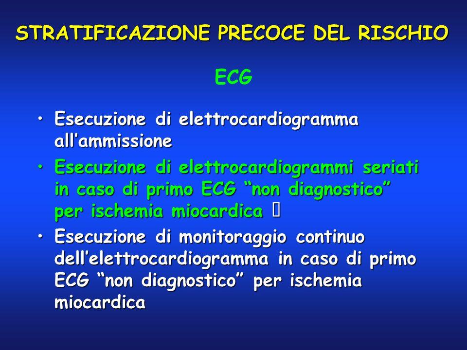 Esecuzione di elettrocardiogramma allammissioneEsecuzione di elettrocardiogramma allammissione Esecuzione di elettrocardiogrammi seriati in caso di pr