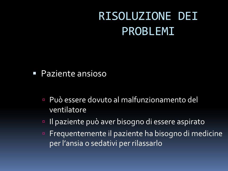 RISOLUZIONE DEI PROBLEMI Paziente ansioso Può essere dovuto al malfunzionamento del ventilatore Il paziente può aver bisogno di essere aspirato Freque