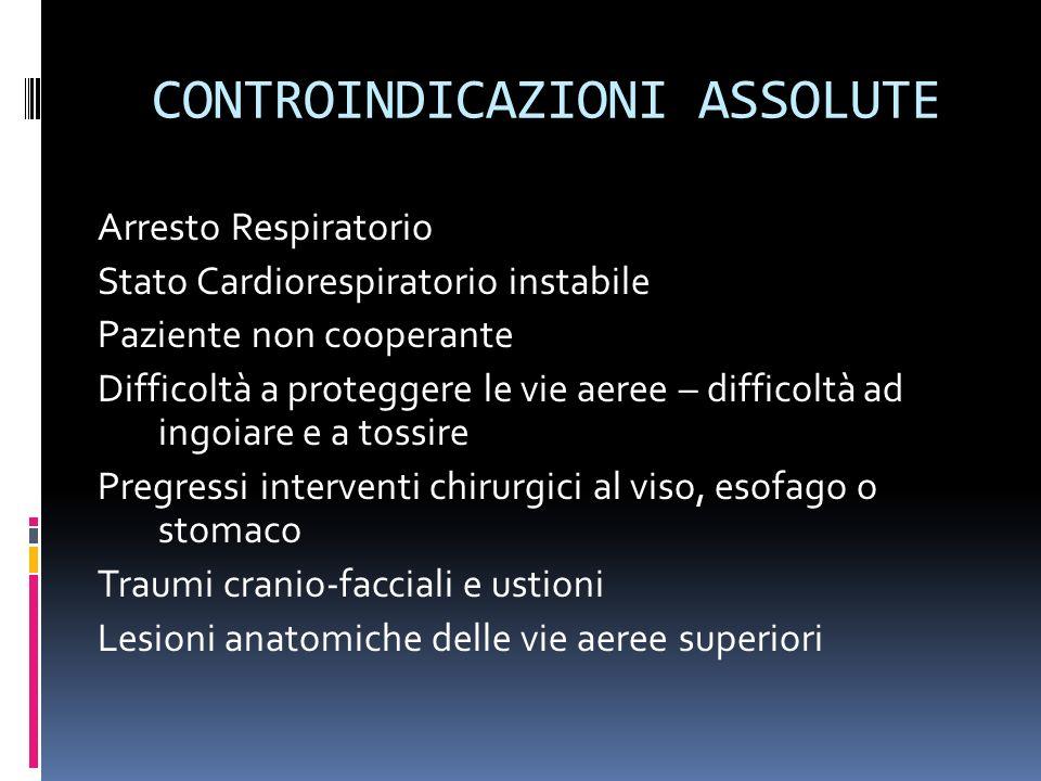 CONTROINDICAZIONI RELATIVE Panico Obesità massiva Secrezioni copiose Bisogno di continua o quasi continua assistenza ventilatoria
