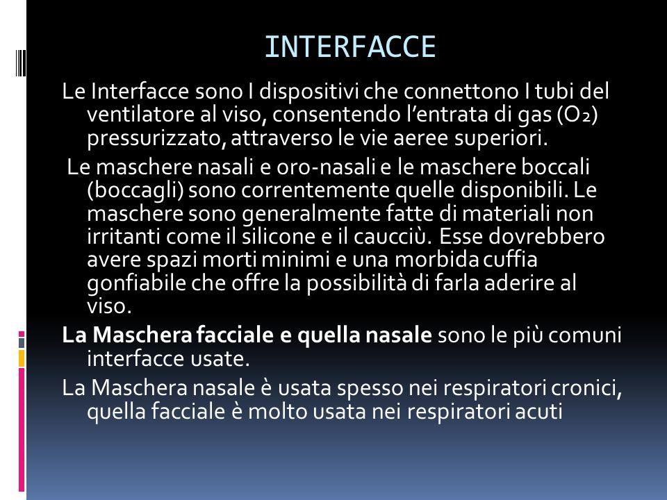 INTERFACCE Le Interfacce sono I dispositivi che connettono I tubi del ventilatore al viso, consentendo lentrata di gas (O 2 ) pressurizzato, attravers