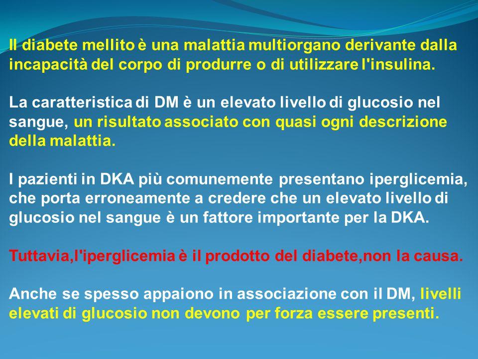 Il diabete mellito è una malattia multiorgano derivante dalla incapacità del corpo di produrre o di utilizzare l'insulina. La caratteristica di DM è u