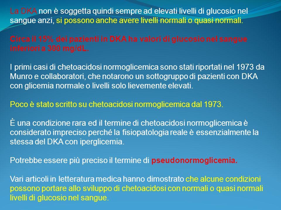 La DKA non è soggetta quindi sempre ad elevati livelli di glucosio nel sangue anzi, si possono anche avere livelli normali o quasi normali. Circa il 1
