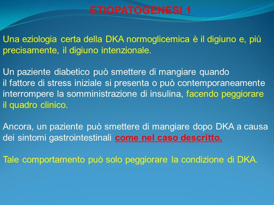 Una eziologia certa della DKA normoglicemica è il digiuno e, più precisamente, il digiuno intenzionale. Un paziente diabetico può smettere di mangiare