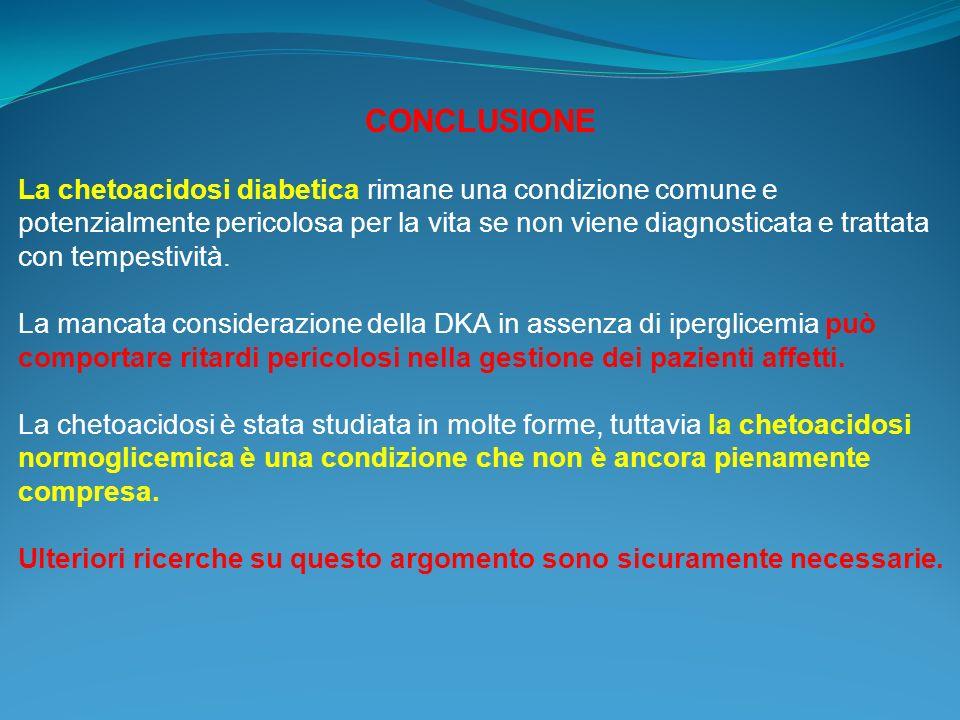 CONCLUSIONE La chetoacidosi diabetica rimane una condizione comune e potenzialmente pericolosa per la vita se non viene diagnosticata e trattata con t