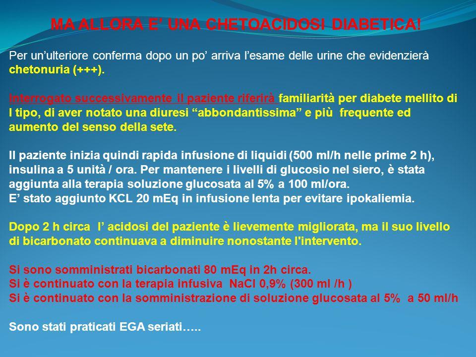DOPO 6 ORE L EGA MOSTRA Ph 7,27 PCO2 26 mmHg PO2 107 mmHg HCO3- 16,4 mEq / L SPO2 98% BE 19,9 mEq /l Glu 183 mg/dl NA 138 mEq /l Anion Gap = 21 Ricoverato in medicina, dopo opportuni accertamenti, il p.