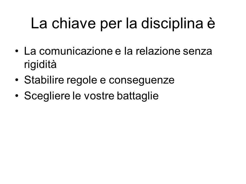 La chiave per la disciplina è La comunicazione e la relazione senza rigidità Stabilire regole e conseguenze Scegliere le vostre battaglie