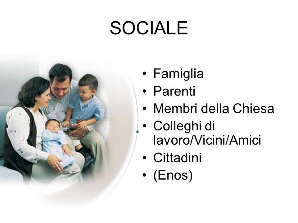 SOCIALE Famiglia Parenti Membri della Chiesa Colleghi di lavoro/Vicini/Amici Cittadini (Enos)