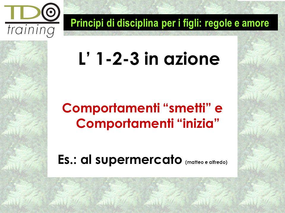Comportamenti smetti e Comportamenti inizia Es.: al supermercato (matteo e alfredo) L 1-2-3 in azione Principi di disciplina per i figli: regole e amo