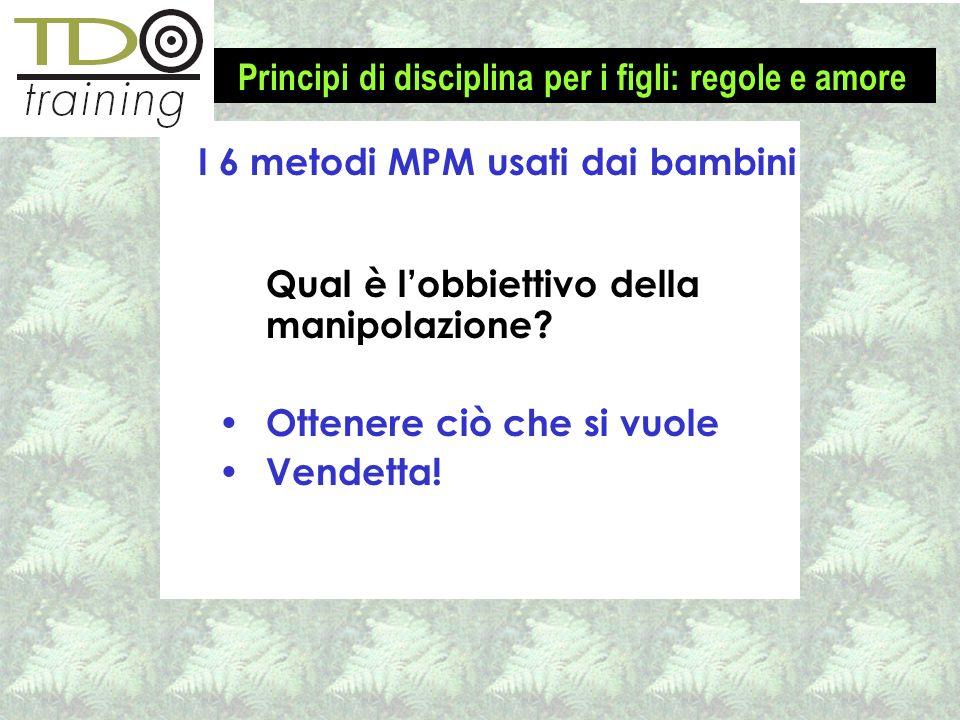 I 6 metodi MPM usati dai bambini Qual è lobbiettivo della manipolazione? Ottenere ciò che si vuole Vendetta! Principi di disciplina per i figli: regol