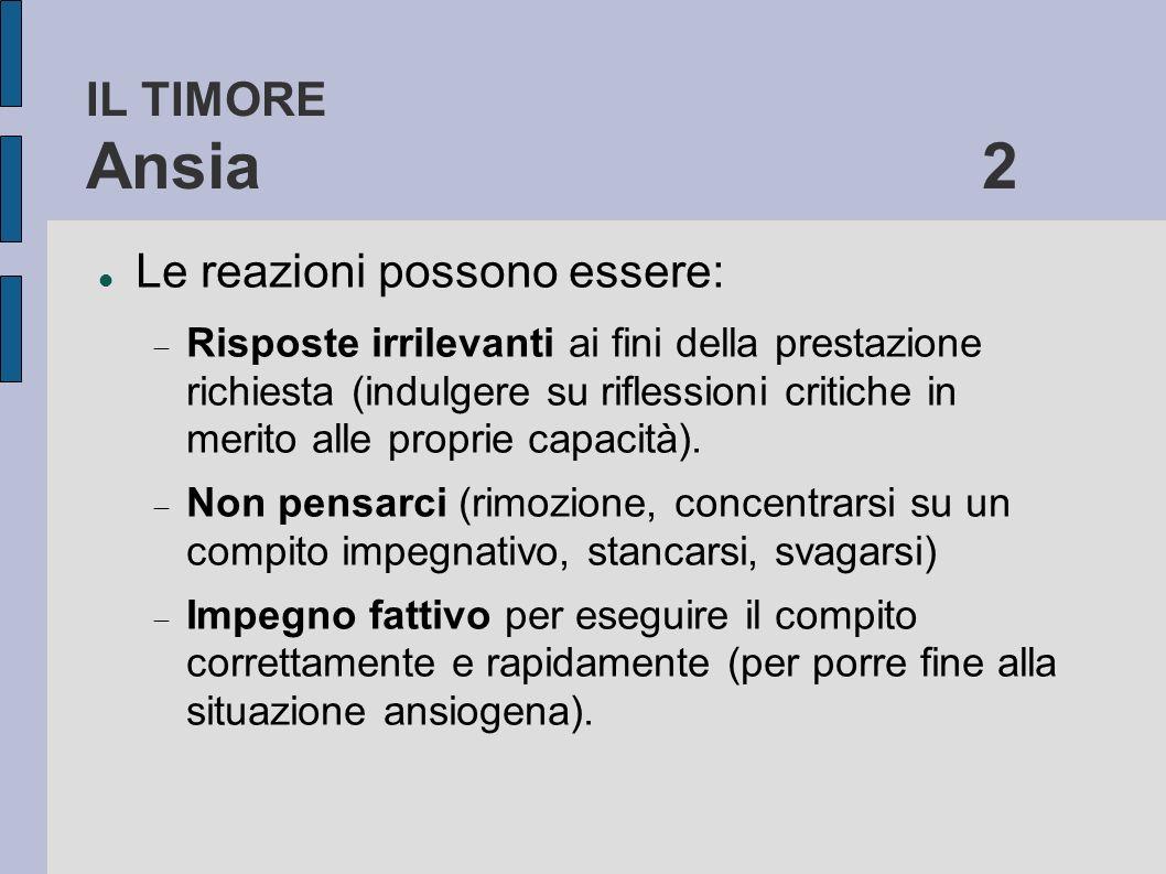 IL TIMORE Ansia 2 Le reazioni possono essere: Risposte irrilevanti ai fini della prestazione richiesta (indulgere su riflessioni critiche in merito al