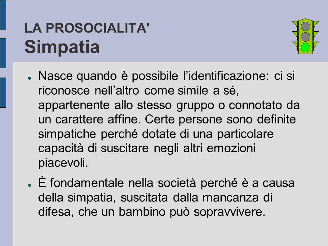 LA PROSOCIALITA' Simpatia Nasce quando è possibile lidentificazione: ci si riconosce nellaltro come simile a sé, appartenente allo stesso gruppo o con