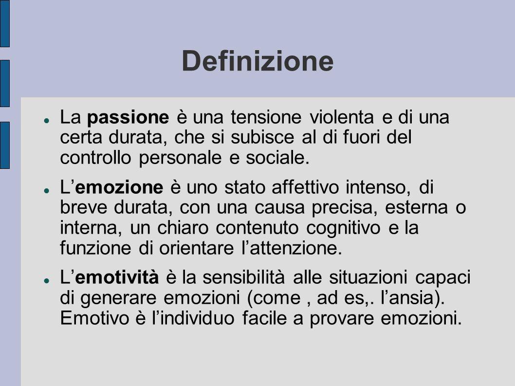 Definizione La passione è una tensione violenta e di una certa durata, che si subisce al di fuori del controllo personale e sociale. Lemozione è uno s