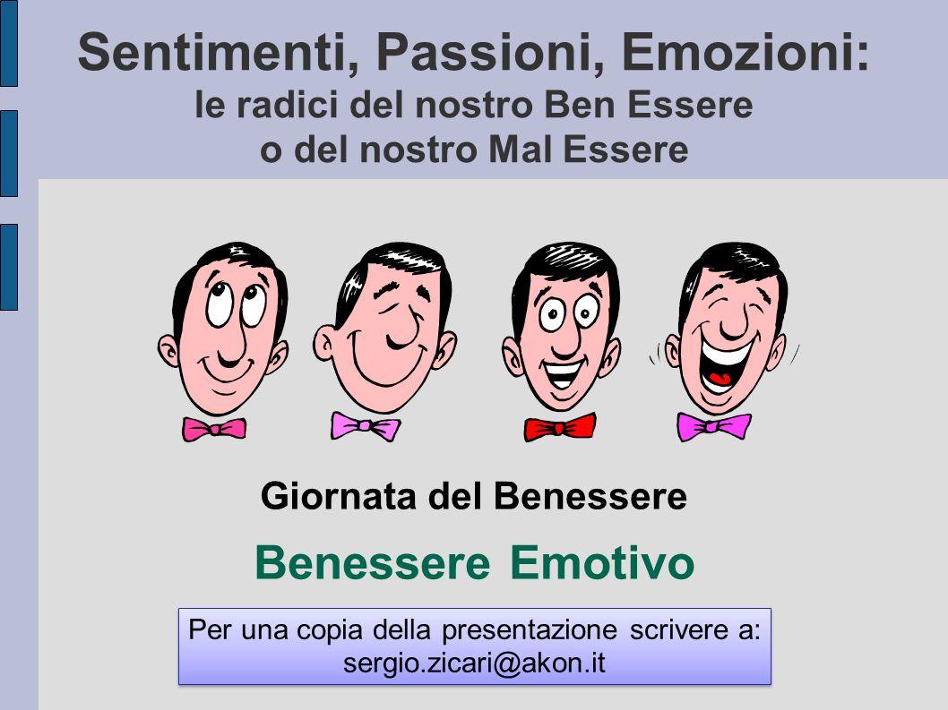 Sentimenti, Passioni, Emozioni: le radici del nostro Ben Essere o del nostro Mal Essere Giornata del Benessere Benessere Emotivo Per una copia della p