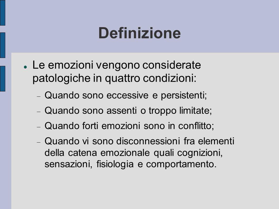 Definizione Le emozioni vengono considerate patologiche in quattro condizioni: Quando sono eccessive e persistenti; Quando sono assenti o troppo limit