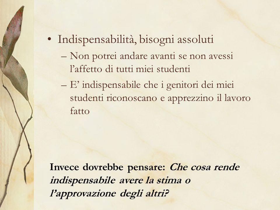 Indispensabilità, bisogni assoluti –Non potrei andare avanti se non avessi laffetto di tutti miei studenti –E indispensabile che i genitori dei miei s