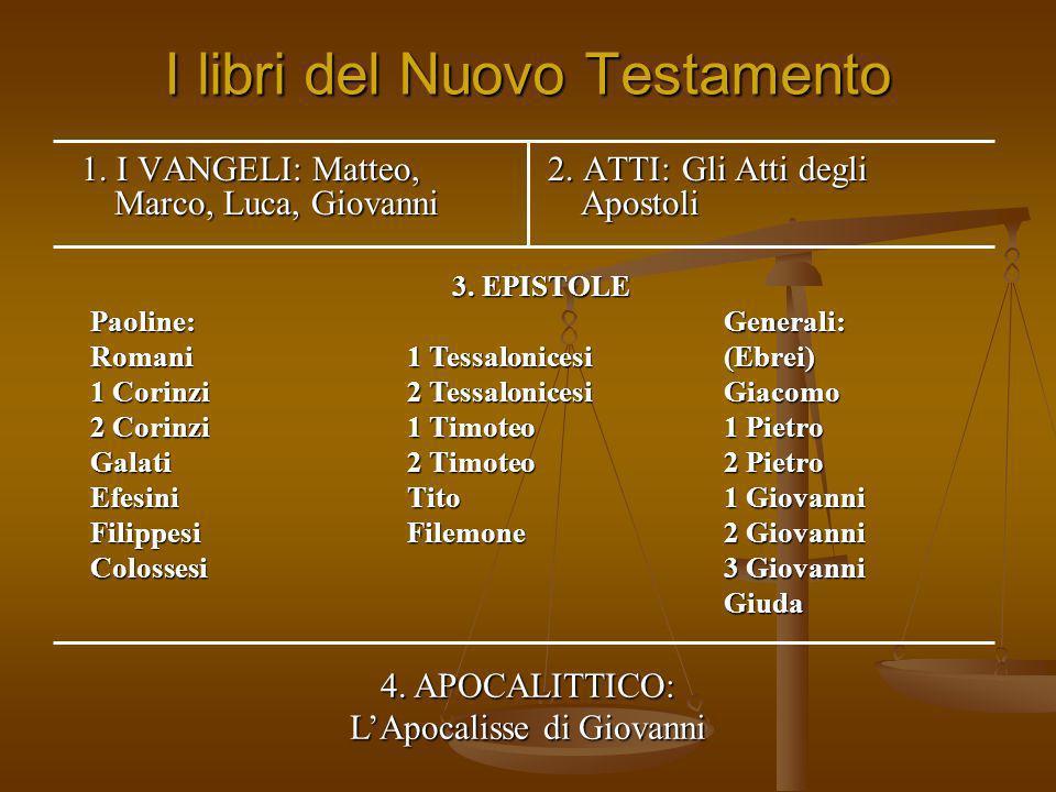 I libri del Nuovo Testamento 1. I VANGELI: Matteo, Marco, Luca, Giovanni 2. ATTI: Gli Atti degli Apostoli 3. EPISTOLE Paoline:Generali: Romani1 Tessal