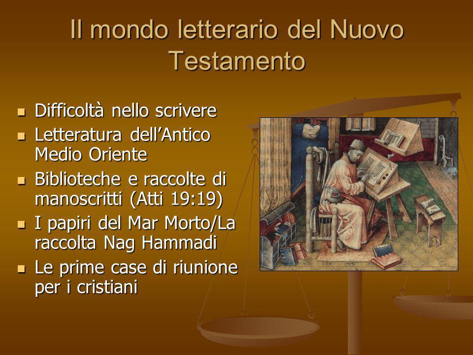 Il mondo letterario del Nuovo Testamento Difficoltà nello scrivere Difficoltà nello scrivere Letteratura dellAntico Medio Oriente Letteratura dellAnti