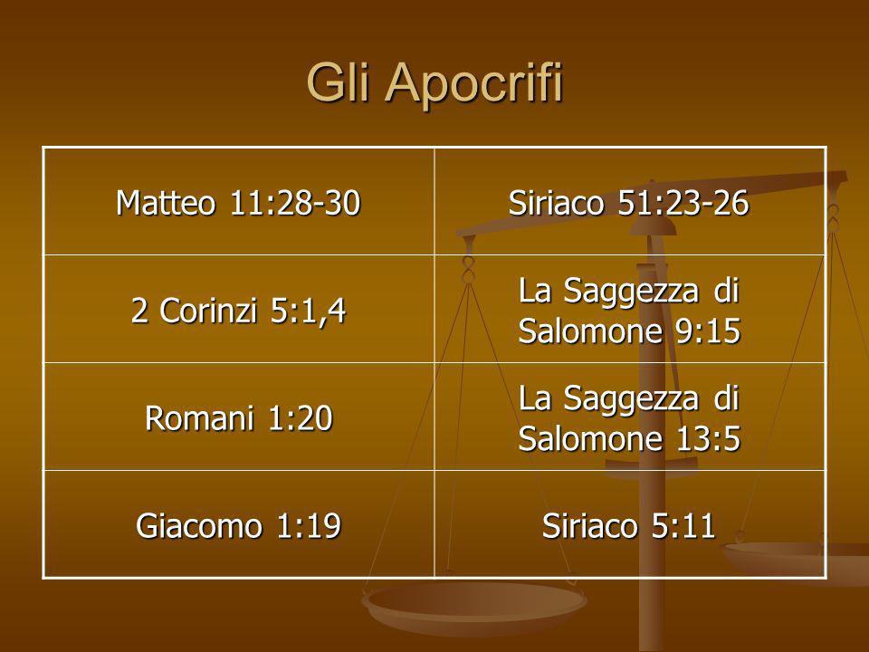 Gli Apocrifi Matteo 11:28-30 Siriaco 51:23-26 2 Corinzi 5:1,4 La Saggezza di Salomone 9:15 Romani 1:20 La Saggezza di Salomone 13:5 Giacomo 1:19 Siria