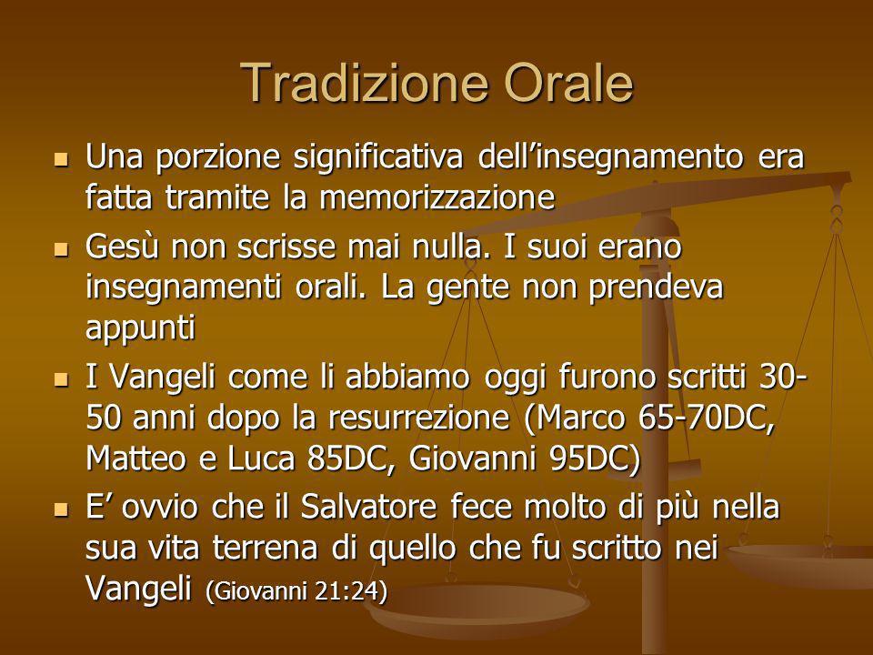 Tradizione Orale Una porzione significativa dellinsegnamento era fatta tramite la memorizzazione Una porzione significativa dellinsegnamento era fatta
