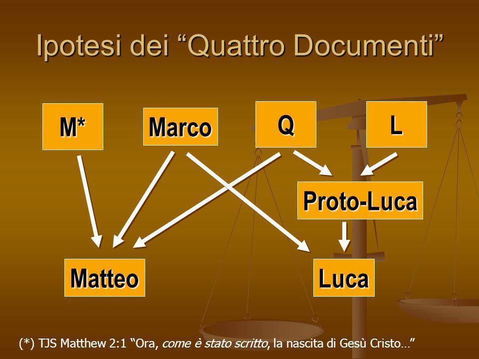 Ipotesi dei Quattro Documenti M* Luca Proto-Luca Matteo Marco QL (*) TJS Matthew 2:1 Ora, come è stato scritto, la nascita di Gesù Cristo…