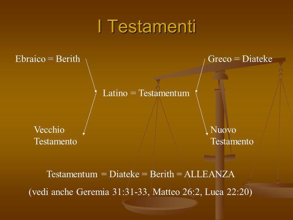 I Testamenti Vecchio Testamento Nuovo Testamento Ebraico = BerithGreco = Diateke Latino = Testamentum Testamentum = Diateke = Berith = ALLEANZA (vedi