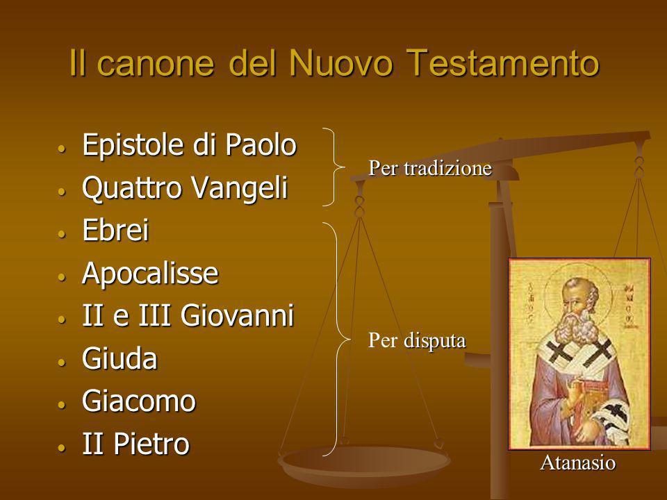 Il canone del Nuovo Testamento Epistole di Paolo Epistole di Paolo Quattro Vangeli Quattro Vangeli Ebrei Ebrei Apocalisse Apocalisse II e III Giovanni