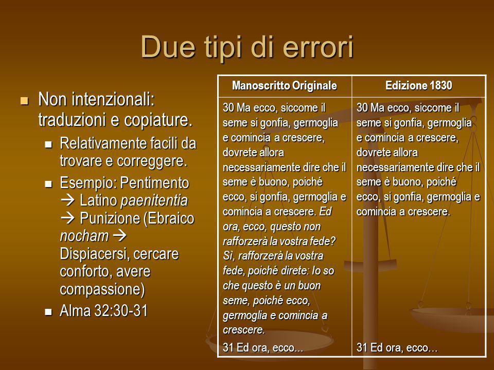 Due tipi di errori Non intenzionali: traduzioni e copiature. Non intenzionali: traduzioni e copiature. Relativamente facili da trovare e correggere. R