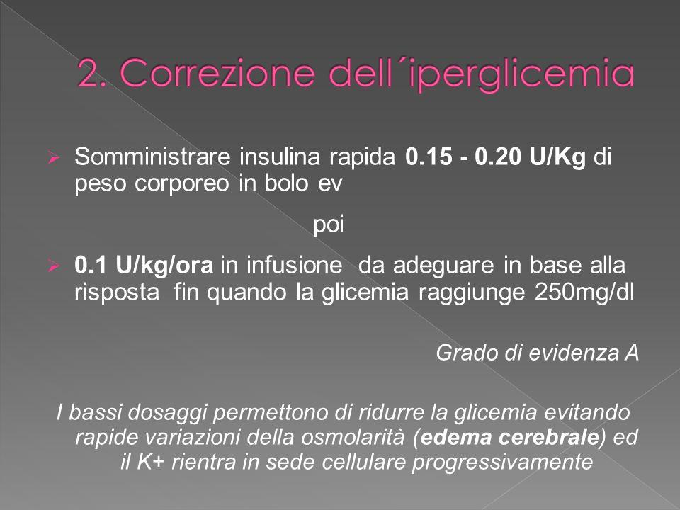 Somministrare insulina rapida 0.15 - 0.20 U/Kg di peso corporeo in bolo ev poi 0.1 U/kg/ora in infusione da adeguare in base alla risposta fin quando