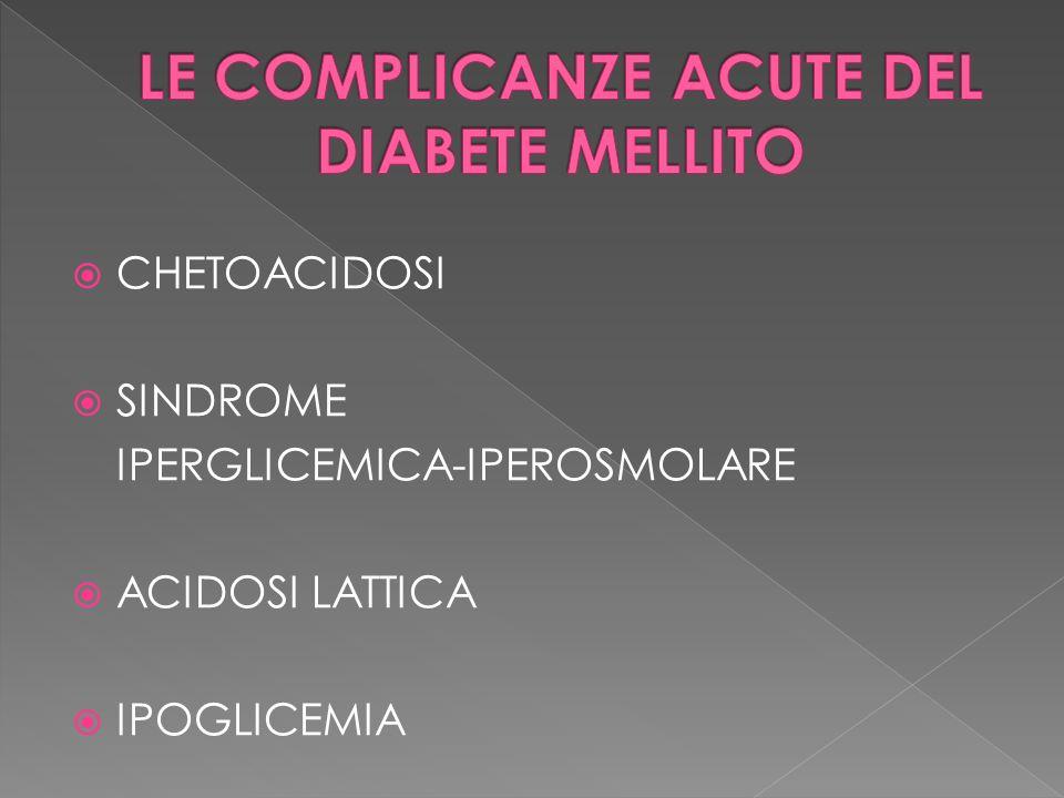 CHETOACIDOSI SINDROME IPERGLICEMICA-IPEROSMOLARE ACIDOSI LATTICA IPOGLICEMIA