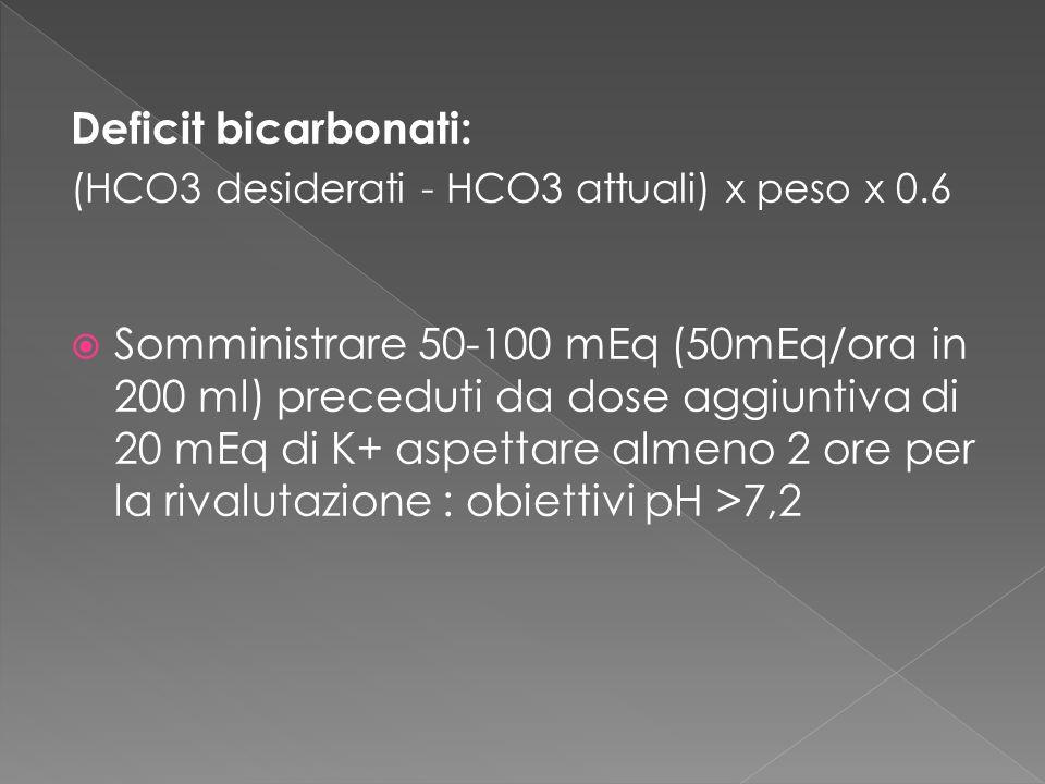 Deficit bicarbonati: (HCO3 desiderati - HCO3 attuali) x peso x 0.6 Somministrare 50-100 mEq (50mEq/ora in 200 ml) preceduti da dose aggiuntiva di 20 m