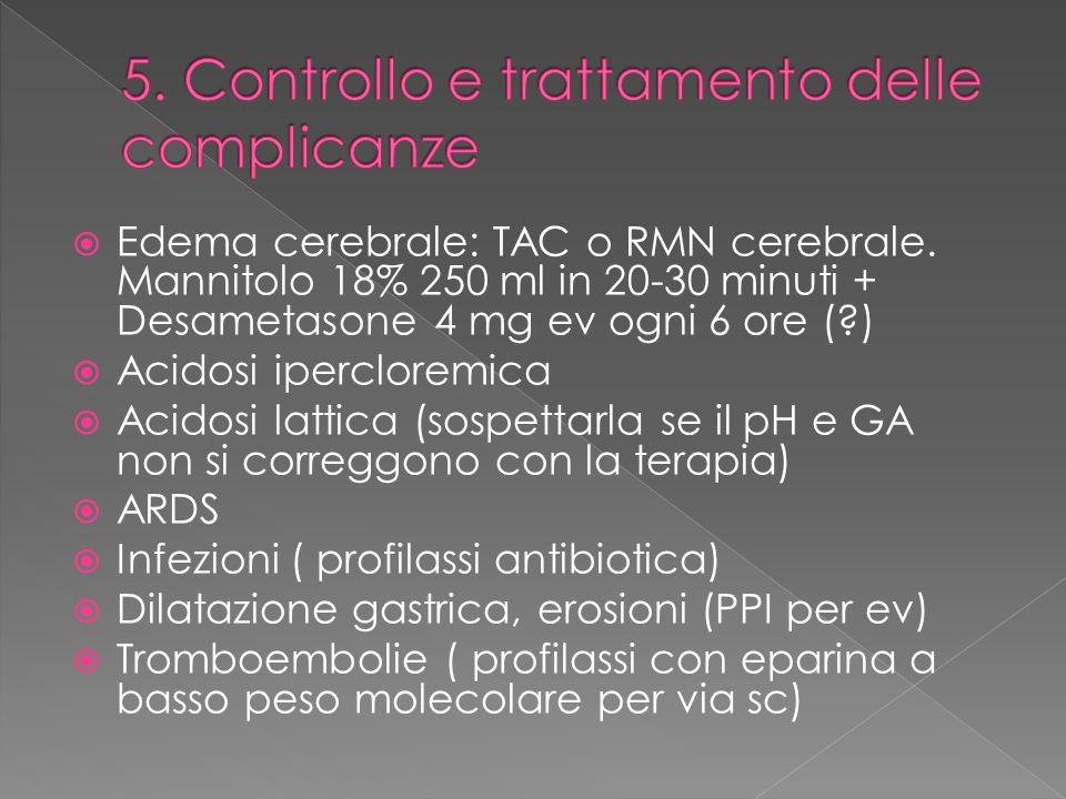 Edema cerebrale: TAC o RMN cerebrale. Mannitolo 18% 250 ml in 20-30 minuti + Desametasone 4 mg ev ogni 6 ore (?) Acidosi ipercloremica Acidosi lattica