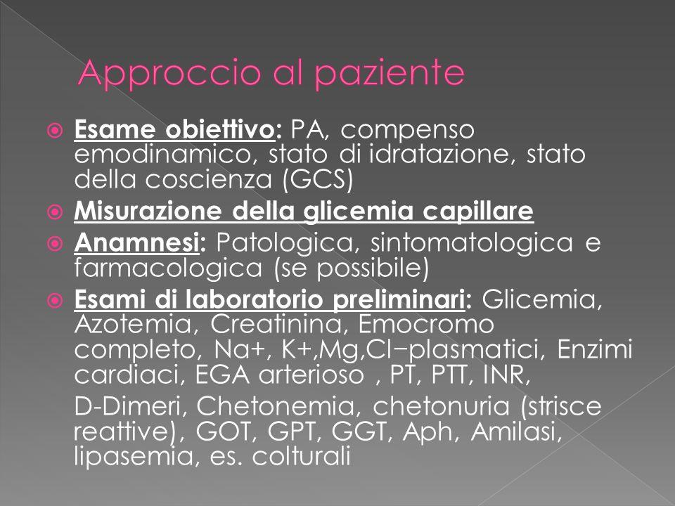 Esame obiettivo: PA, compenso emodinamico, stato di idratazione, stato della coscienza (GCS) Misurazione della glicemia capillare Anamnesi: Patologica