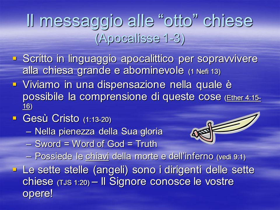 Il messaggio alle otto chiese (Apocalisse 1-3) Scritto in linguaggio apocalittico per sopravvivere alla chiesa grande e abominevole (1 Nefi 13) Scritt