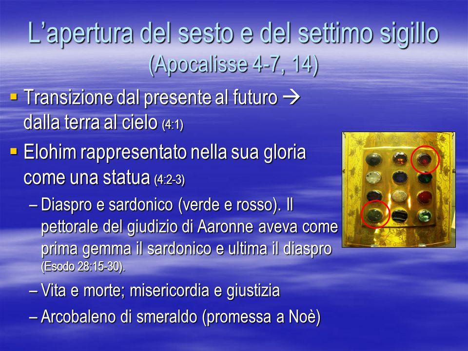 Lapertura del sesto e del settimo sigillo (Apocalisse 4-7, 14) Transizione dal presente al futuro dalla terra al cielo (4:1) Transizione dal presente