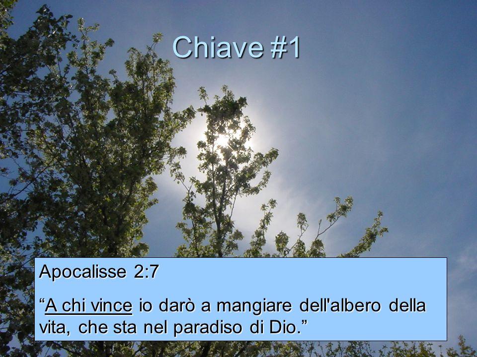 Chiave #1 Apocalisse 2:7 A chi vince io darò a mangiare dell'albero della vita, che sta nel paradiso di Dio.A chi vince io darò a mangiare dell'albero