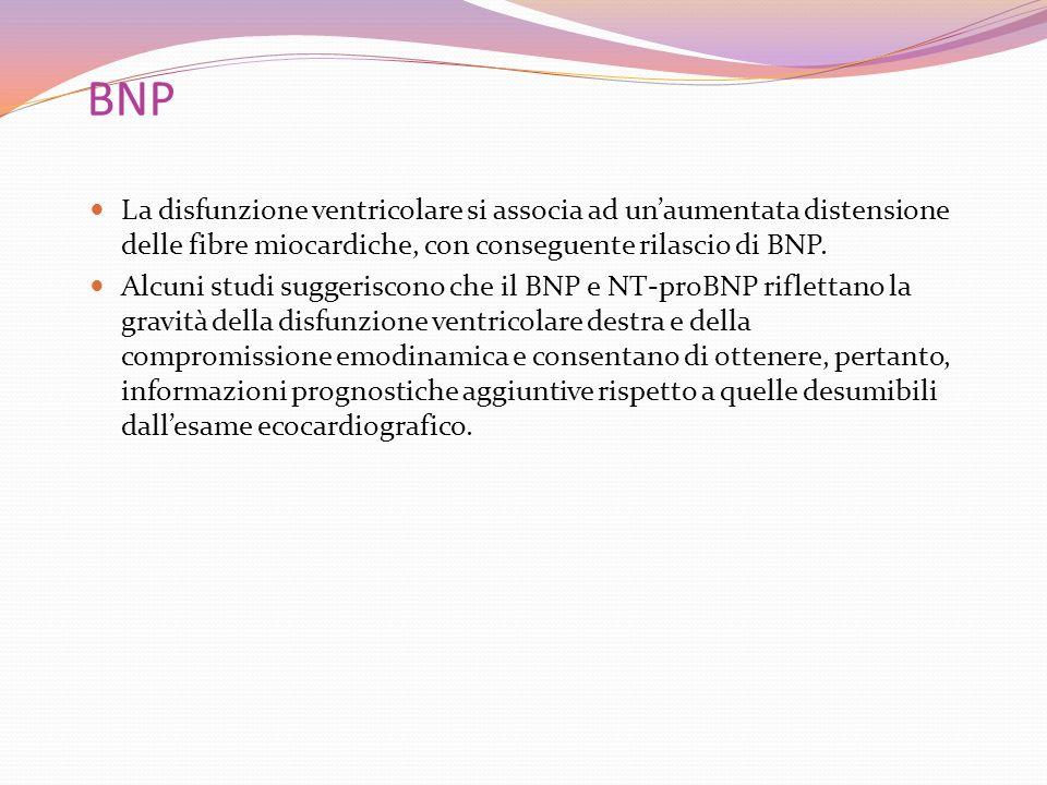 BNP La disfunzione ventricolare si associa ad unaumentata distensione delle fibre miocardiche, con conseguente rilascio di BNP. Alcuni studi suggerisc