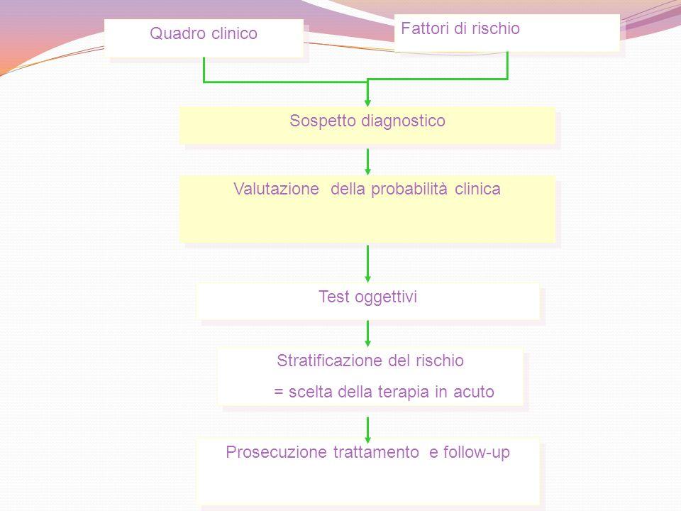 Quadro clinico Fattori di rischio Sospetto diagnostico Valutazione della probabilità clinica Test oggettivi Stratificazione del rischio = scelta della