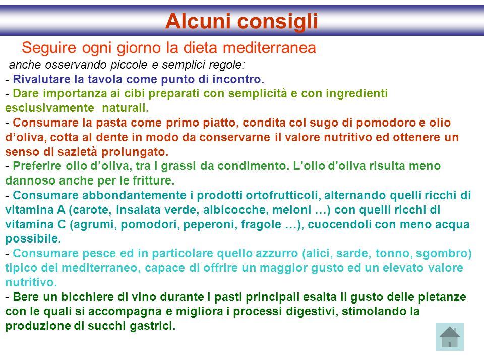 Seguire ogni giorno la dieta mediterranea anche osservando piccole e semplici regole: - Rivalutare la tavola come punto di incontro. - Dare importanza