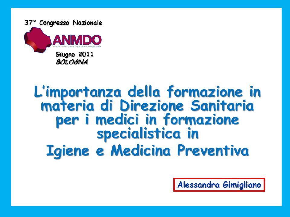 Limportanza della formazione in materia di Direzione Sanitaria per i medici in formazione specialistica in Igiene e Medicina Preventiva 37° Congresso Nazionale Giugno 2011 BOLOGNA Alessandra Gimigliano