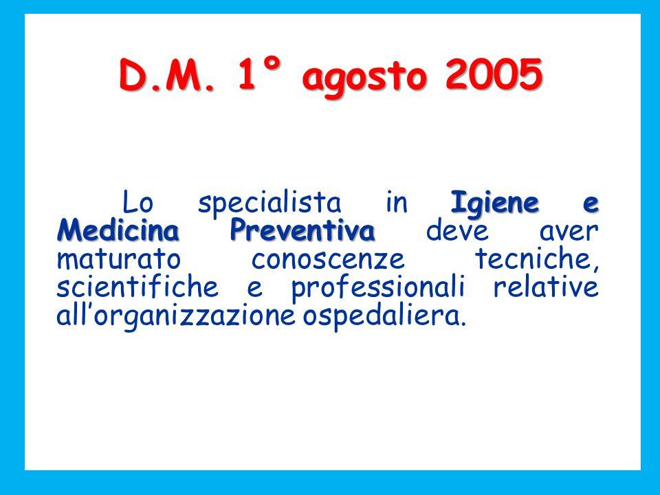 D.M. 1° agosto 2005 Igiene e Medicina Preventiva Lo specialista in Igiene e Medicina Preventiva deve aver maturato conoscenze tecniche, scientifiche e