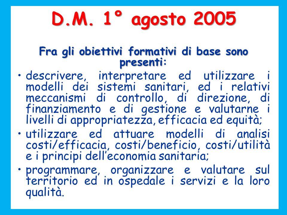 D.M. 1° agosto 2005 Fra gli obiettivi formativi di base sono presenti Fra gli obiettivi formativi di base sono presenti: descrivere, interpretare ed u