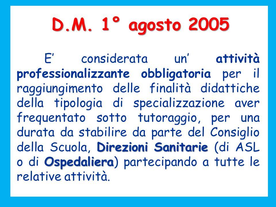 D.M. 1° agosto 2005 Direzioni Sanitarie Ospedaliera E considerata un attività professionalizzante obbligatoria per il raggiungimento delle finalità di